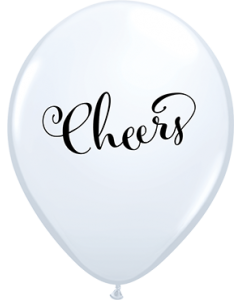 Simply Cheers White Standard Latexballon Rund 11in/27.5cm