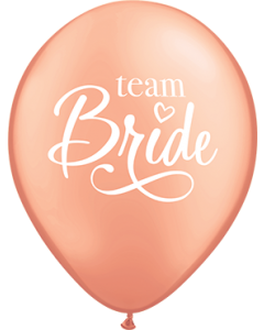 Team Bride Metallic Rose Gold Latexballon Rund 11in/27.5cm