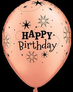 Birthday Sparkle Metallic Rose Gold Latexballon Rund 11in/27.5cm