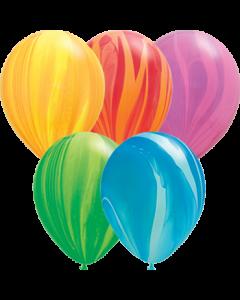 Rainbow SuperAgate Sortiment Latexballon Rund 11in/27.5cm