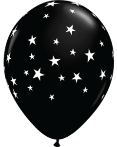 Contempo Stars Fashion Onyx Black Latexballon Rund 11in/27.5cm