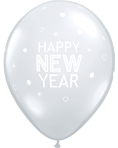 New Year Sparkles Diamond Clear Latexballoon Rund 11in/27.5cm