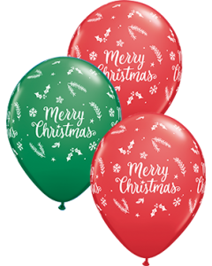 Merry Christmas Evergreen Sortiment Red und Green Latexballon Rund 11in/27.5cm