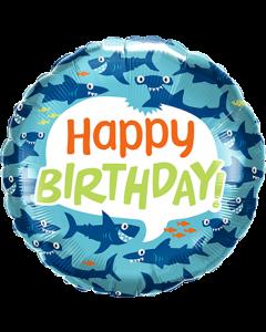 Birthday Fun Sharks Folienform Rund 18in/45cm