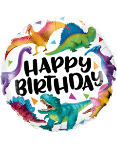 Birthday Colorful Dinosaurs Folienform Rund 18in/45cm