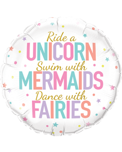 Unicorn/Mermaid/Fairies Folienform Rund 18in/45cm