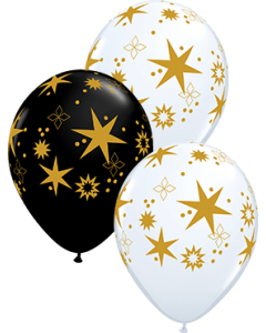 Star Patterns Sortiment White und Onyx Black Latexballon Rund 11in/27.5cm