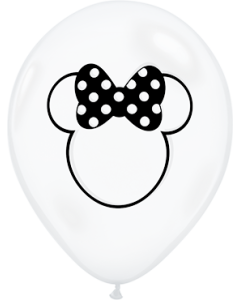 Disney Minnie Mouse Silhouette Diamond Clear Latexballon Rund 11in/27.5cm