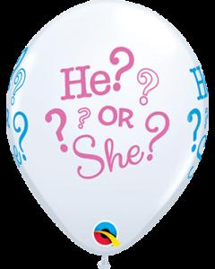 He? or She? Standard White Latexballon Rund 11in/27.5cm
