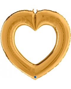 Linky Heart Gold Folienfiguren 41in/104cm