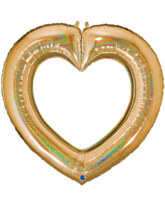 Linky Heart Glitter Gold Folienfiguren 41in/104cm
