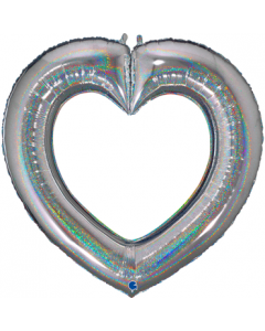 Linky Heart Glitter Silver Folienfiguren 41in/104cm