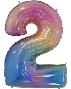 2 Megaloon Rainbow Holographische Folienzahlen 40in/100cm
