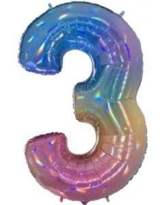 3 Megaloon Rainbow Holographische Folienzahlen 40in/100cm