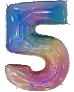 5 Megaloon Rainbow Holographische Folienzahlen 40in/100cm