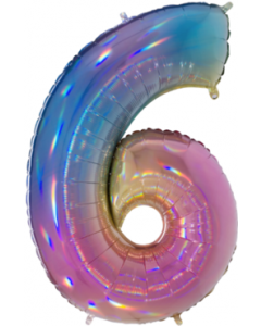 6 Megaloon Rainbow Holographische Folienzahlen 40in/100cm