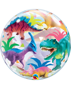 Colorful Dinosaurs Single Bubble 22in/55cm