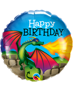 Bday Mythical Dragon Folienform Rund 18in/45cm