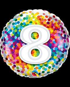 8 Rainbow Confetti Folienform Rund 18in/45cm