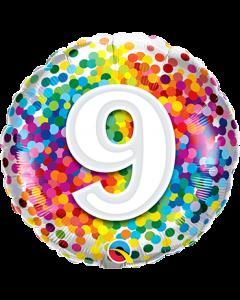 9 Rainbow Confetti Folienform Rund 18in/45cm