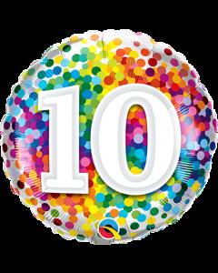 10 Rainbow Confetti Folienform Rund 18in/45cm