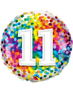 11 Rainbow Confetti Folienform Rund 18in/45cm
