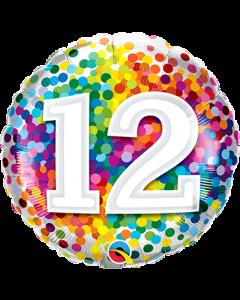12 Rainbow Confetti Folienform Rund 18in/45cm