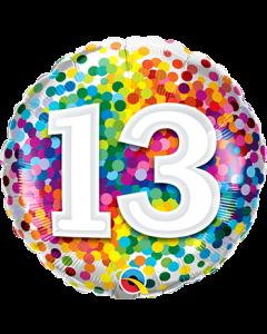 13 Rainbow Confetti Folienform Rund 18in/45cm