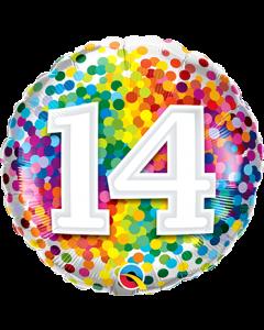 14 Rainbow Confetti Folienform Rund 18in/45cm