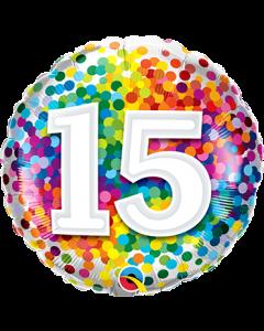 15 Rainbow Confetti Folienform Rund 18in/45cm