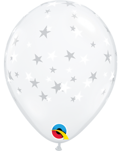 Contempo Stars/White Diamond Clear (Transparent) Latexballon Rund 5in/12.5cm