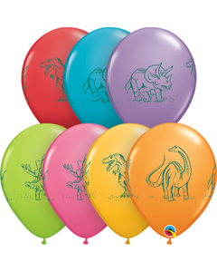 Dinosaurs In Action Festive Sortiment Latexballon Rund 11in/27.5cm