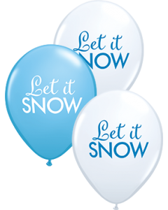 Simply Let it Snow Sortiment White und Robin's Egg Blue Latexballon Rund 11in/27.5cm
