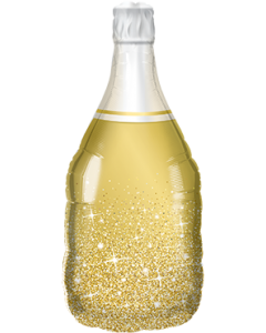 Golden Bubbly Wine Bottle Folienfiguren 39in/99cm