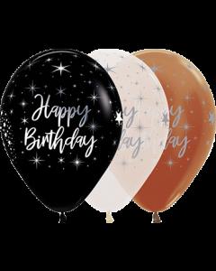 Happy Birthday Radiant Sortiment Brown, Clear und Black mit Metallic Tinte Latexballon Rund 11in/27.5cm