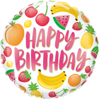 Birthday Fruits Folienform Rund 18in/45cm
