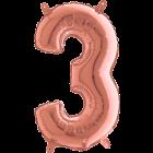 3 Rose Gold Folienzahlen 14in/36cm