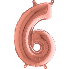 6 Rose Gold Folienzahlen 14in/36cm