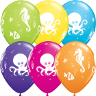 Fun Sea Creatures Tropical Sortiment Latexballon Rund 11in/27.5cm