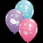 Fun Under The Sea Fashion Spring Lilac, Fashion Rose und Fashion Caribbean Blue Sortiment Latexballon Rund 11in/27.5cm